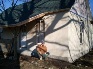 Winery Foundation | Spraying Stucco