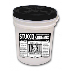stucco core mix bucket with label